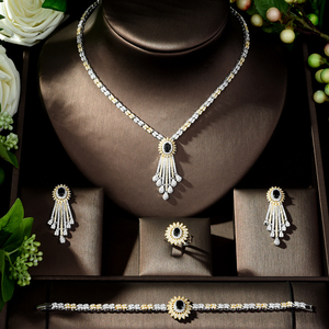 Image 2 - HIBRIDE Trendy Jewelry Set Geometric Design Water Drop AAA CZ Wedding Jewelry Sets for Brides 2 Tones Jewelry Set Bridal N 317