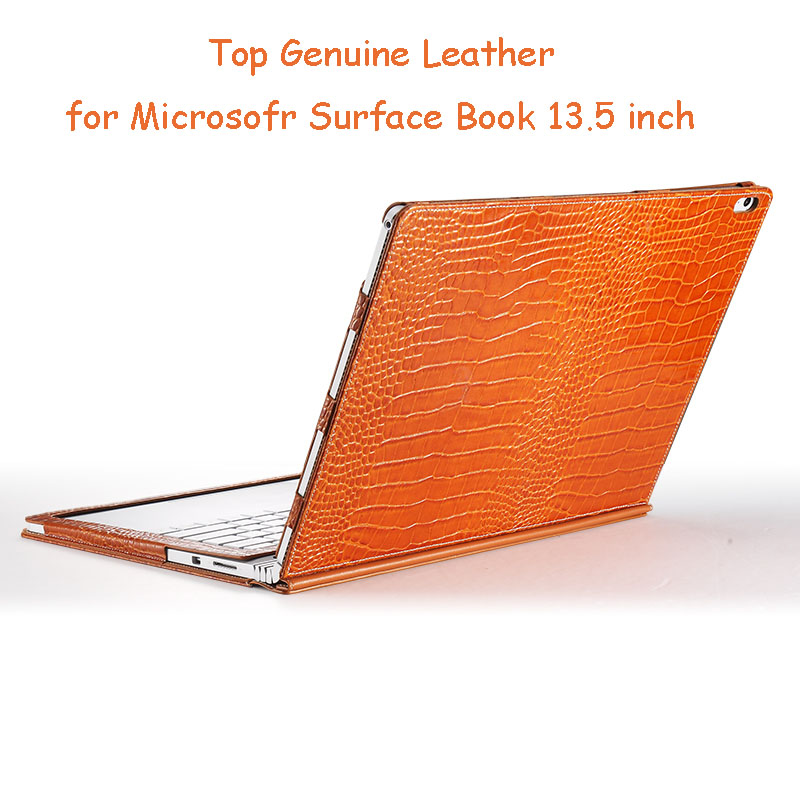 Top Genuine Leather Case for Microsoft Surface Book 13.5 Inch Detachable Folio Cover for Surface Book 2 2015 Version Tablet Case for microsoft surface book 13 5 sleeve bag embossed crocodile genuine leather detachable flip case black skin for surface book