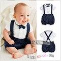 Verão roupas de bebê de algodão 2 pcs terno curto cavalheiro menino infantil Suspender conjuntos de presente para recém-nascidos batizado ternos para meninos