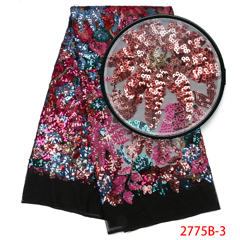 French Net Lace Fabric High Quality African Tulle Lace With Sequins 2019 Latest Nigerian Lace Fabric For Party Dress  KS2775B-3