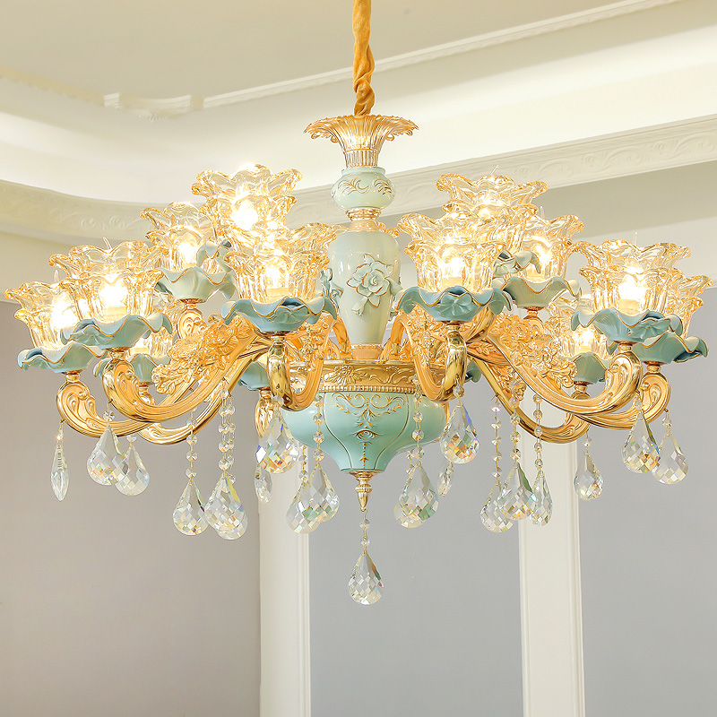 Ceramic Chandelier Luxurious Living Room Dining Room Crystal Lamp Household Light Clothing Store Boutique Decorative Chandeliers
