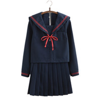 2017 Autumn Japanese School Uniforms For Girls Cute Long Length Sailor Tops Pleated Skirt Full Sets