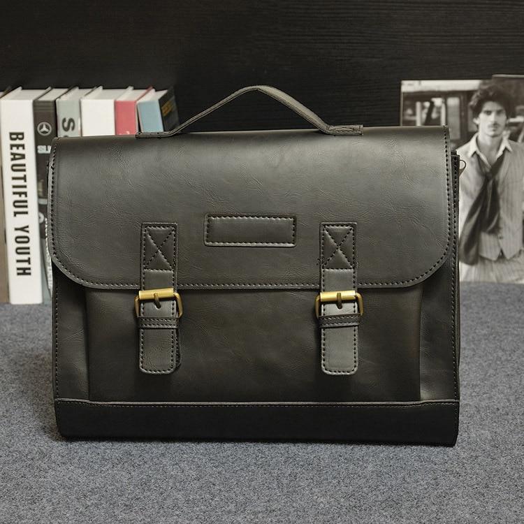 Crazy Horse PU Leather Men Briefcase Famous Brand Men's Messenger Bag Male Laptop Bag Business Fashion Shoulder Bags Travel Bag