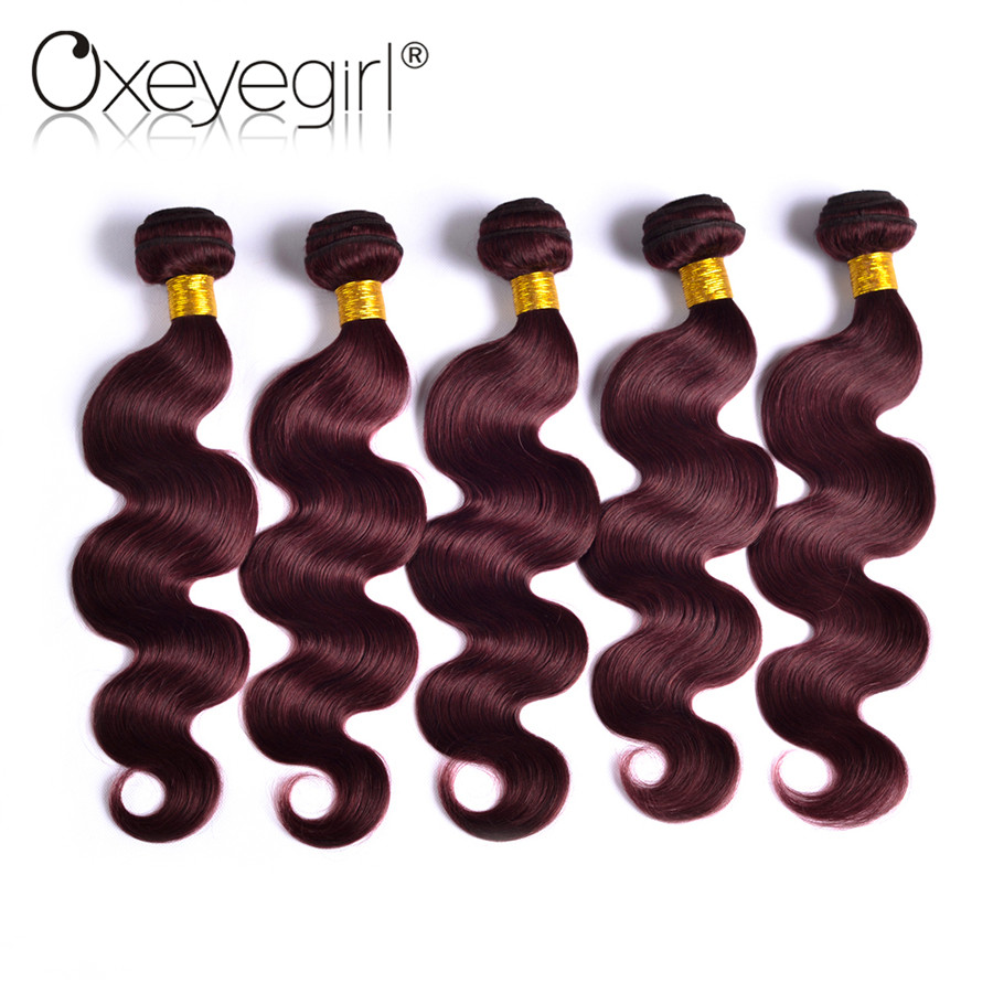 Oxeye girl Brazilian Body Wave font b Hair b font Bundles 1PC 100 Burgundy 99J
