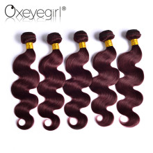 [Oxeye girl ] Brazilian Body Wave Hair Bundles 1PC 100% Burgundy 99J Non-Remy Human Hair Bundles Free Shipping 10″-24″ Hair