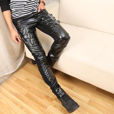Punk Rock Pants Men Black Leather Buckles Split Joint Rivet Long Pants Men Clothes 2019 Trousers Men Halloween Party Pants