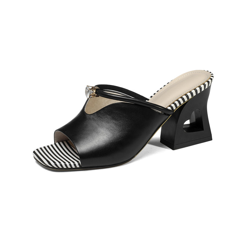 Cristallo Scarpe Tacchi Donne Donna Delle Lucido Abito 7 Pantofola bianco Pelle Partito Cm Alti Il Vera Signore Sandali Nuovi Traforo Nero T81xn71