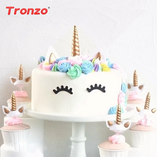 tronzo unicorn party cake toppers unicorn birthday party decorations kids gold silver unicorn cupcake toppers for
