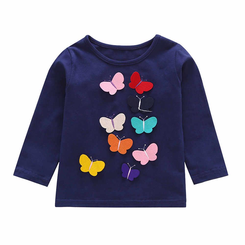 Ropa para niños y niñas con arco de manga larga y apliques de mariposa