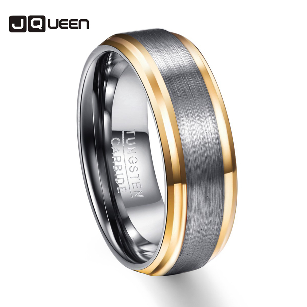 Party Ring Gold Color Edge Brushed Men Rings 100% Tungsten Carbide Steel Multi-size Anillos para hombres Pierscienie