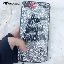 Tronsnic Glitter Phone Case for iPhone 6 6s plus 7 plus Words Love You Forever Case for iPhone 8 plus Shiny Couple Cover Fashion