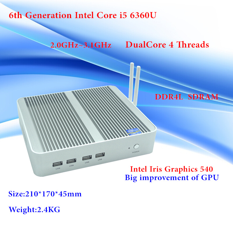 все цены на Newest Skylake Intel Core i5 6360U Mini PC Windows 10 Max 3.1GHz GPU Iris 540 DDR4L Fanless Micro Computer 4K HTPC Freeship онлайн