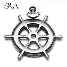 Stainless Steel Rudder Anchor Pendant Charms 1.5mm Hole Bracelet Necklace DIY Findings Components Jewelry Making Supplies