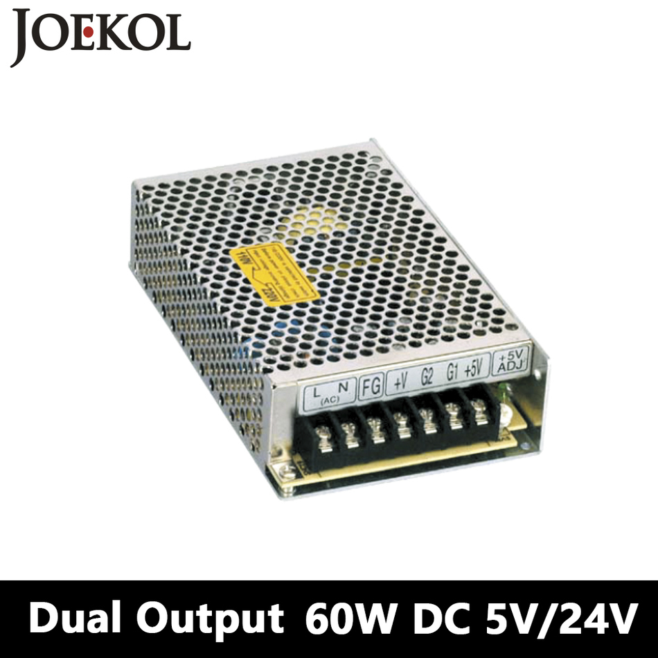 Switching Power Supply 60W 5V 24V,Dual Output Ac-dc Power Supply For Led Strip,voltage Converter 110v/220v To 5V/24V triple output switching power supply 30w 5v 12v 5v ac dc converter for led strip light 110v 220v transformer to dc 5v 12v 5v