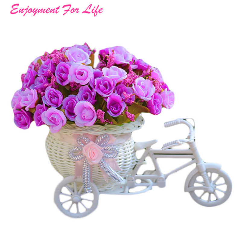 100% Quality Home Furnishing Decorative Floats Bicycle Basket Wholesale Weaving Simulation Set Diamond Rose Flowers Free Shipping Dec 27 Excellent Quality In