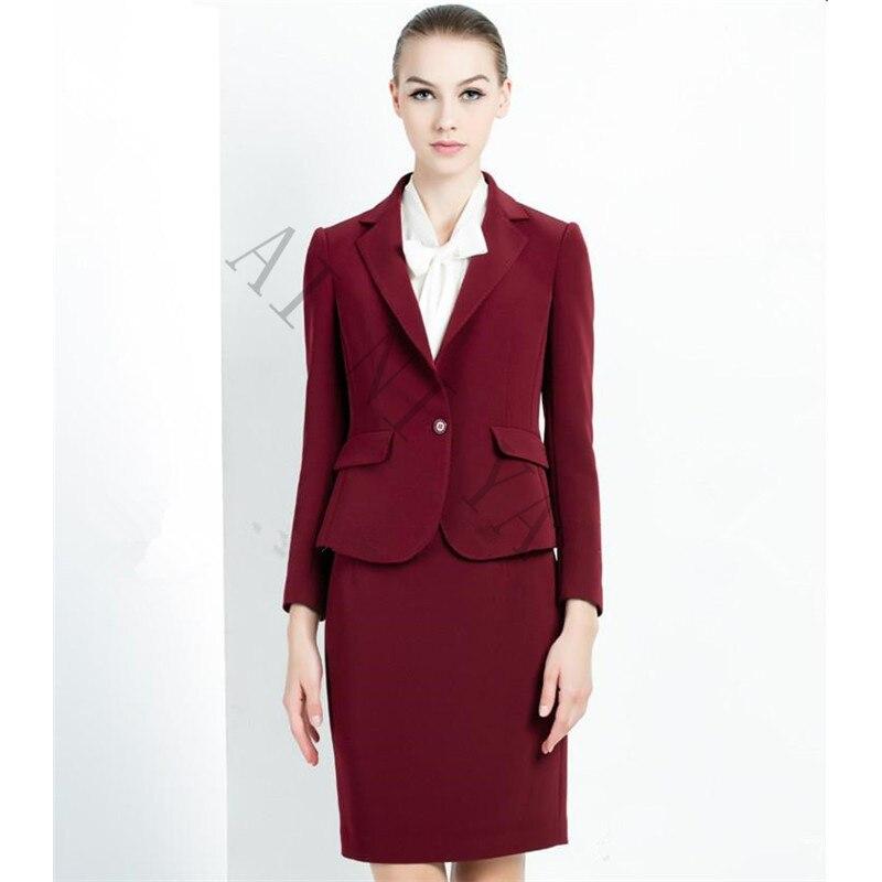 3-1 Wine Red Skirt Suit Women Office Ladies 2 Piece Suits High Quality Formal OL Work Wear Business Elegant Female Office Uniform