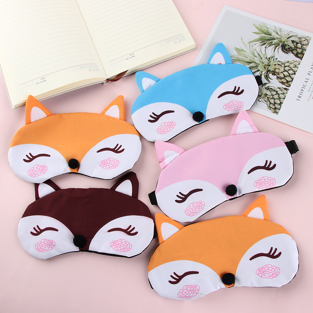1PC Korean Fashion Cute Cartoon Fox 3D Sleep Mask Natural Relax Sleeping Eye Mask Soft Padded Sleep Travel Shade Cover Blindfold