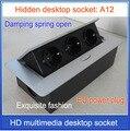 EU plug Tabletop socket /hidden/ Damping spring open Information outlet  /Office conference room High-grade desktop socket  /A12