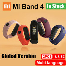 نسخة عالمية من سوار شاومي Mi Band 4 الذكي سوار Miband للياقة البدنية ومعدل ضربات القلب بشاشة ملونة 135 مللي أمبير/ساعة إصدار بلوتوث 5.0