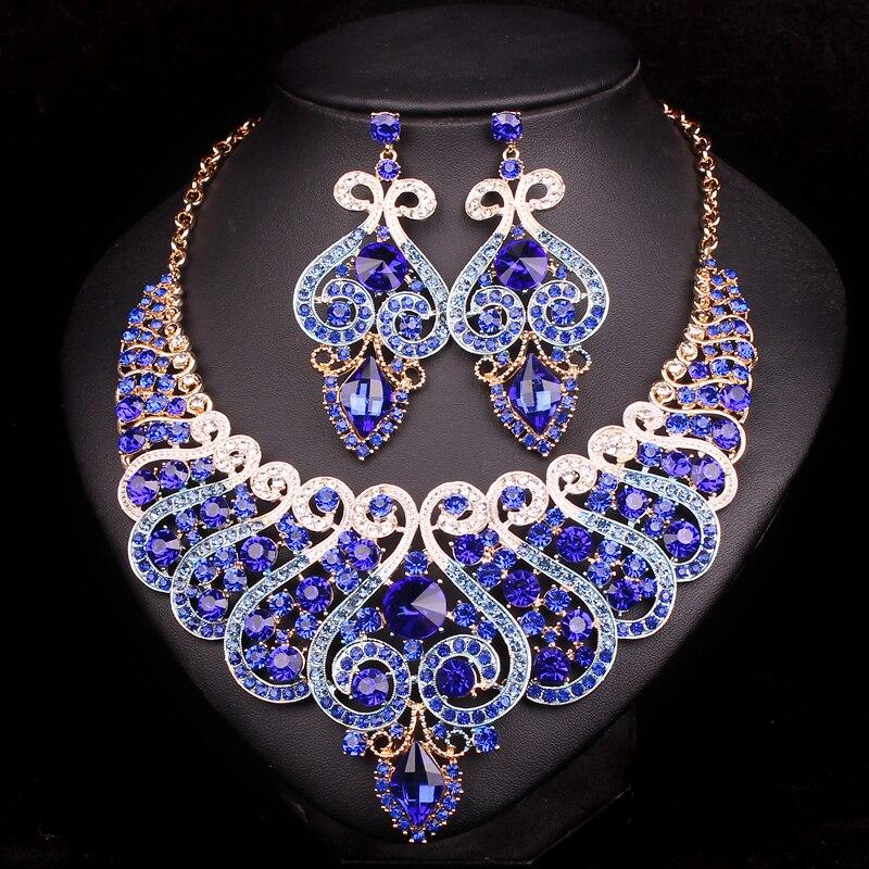 Luxus Brautschmuck Sets Hochzeit Verlobung Halskette Ohrring Set - Modeschmuck - Foto 5