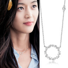 The Legend of the Blue Sea Pure Silver Glittering CZ Crystal Choker Long Necklaces For Women Wedding Jewelry Christmas Gifts