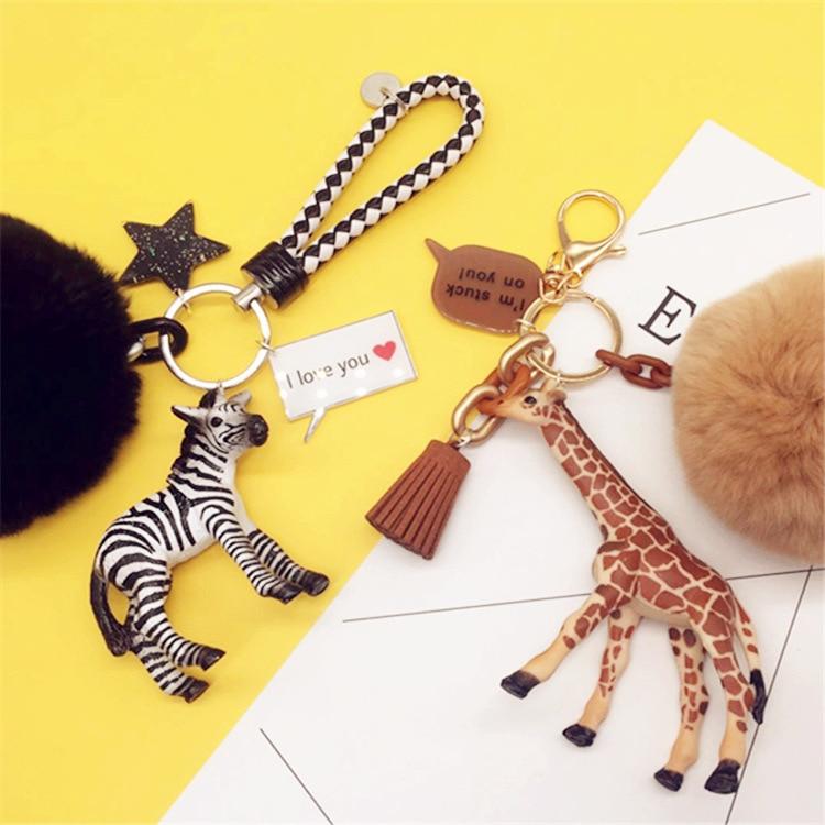 Cute Zebra Giraffe Keychain Pompom Rabbit Fur Ball Key Ring Pendant For Women Bag Purse Backpack Car Key Holder