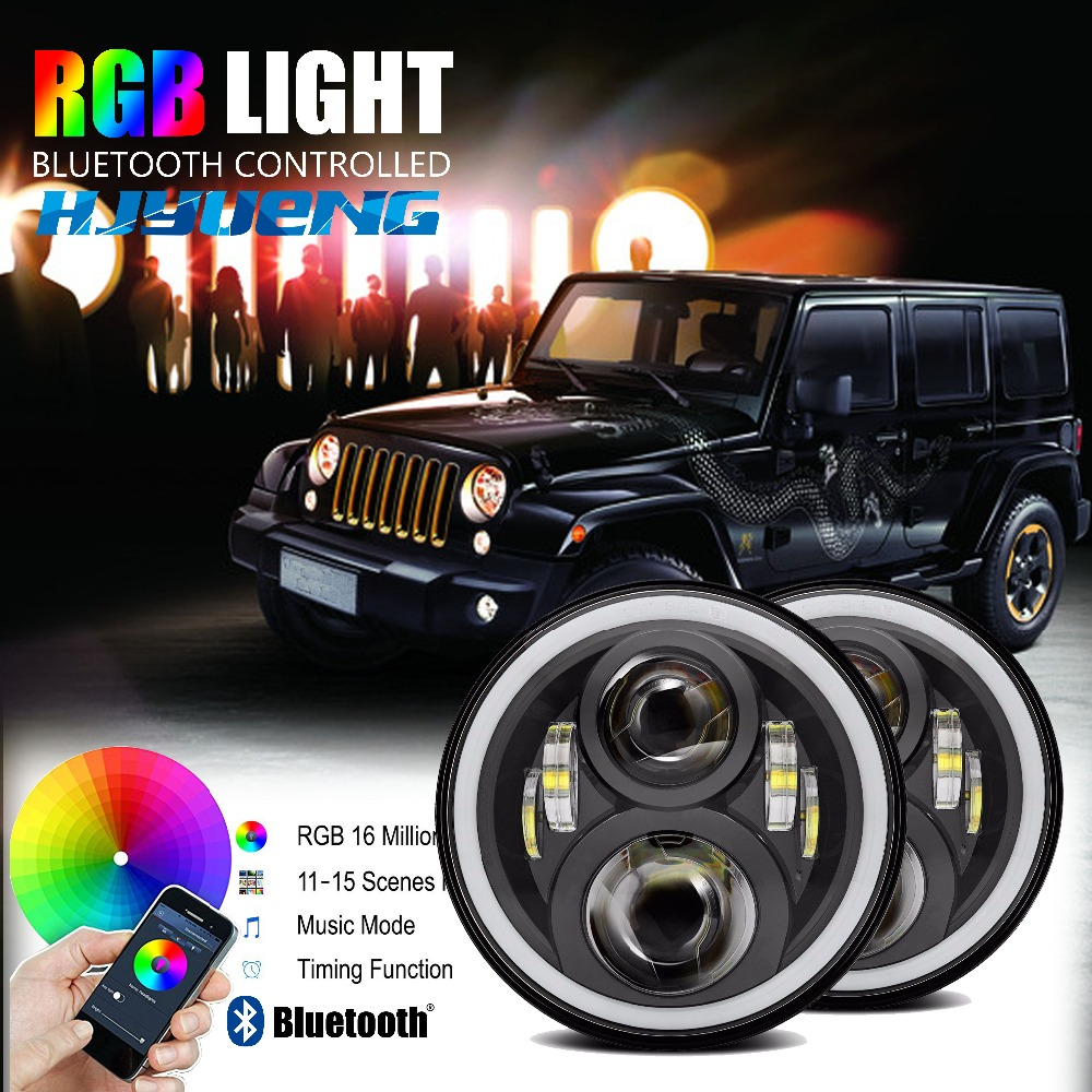 Front Light Round Headlights 7inch Headlamp Offroad 7LED Head Driving Light Lamp for JK Wrangler 07-15 Defender 4x4 off road h4 7 led headlights with led car canbus led chip 80w 8000lm 6000k hi lo led driving light for off road uaz lada