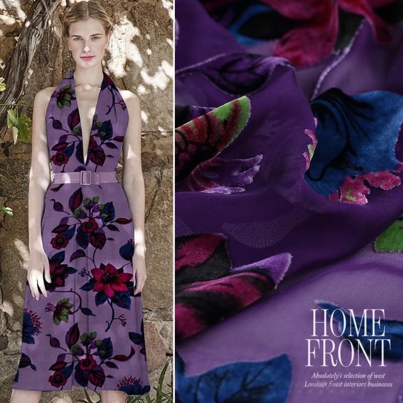 Customized Elegant Hollow Silk Velvet Fabric Silk Velvet Cloth Velvet Cheongsam Skirt Skirt Shawl Cloth Autumn New
