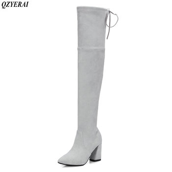 QZYERAI Spring and autumn fashion ladies' boots down to knee suede boots sexy women's shoes new European style size 34-43