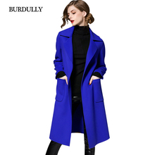 Female Pocket Slim Woolen Coat Suit Collar Big Yards Wool Windbreaker Winter Women Wool Coat 2016 Solid New Women Coat Larg Size