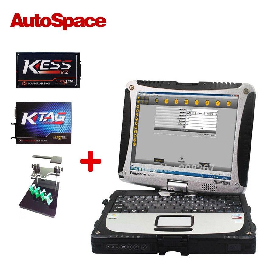 Цена за Новый К-TAG KTAG Мастер V2.13 FW6.070 + KESS V2.23 FW4.036 + BDM Кадр С Адаптеры Установить На Toughbook CF19 Автомобиля диагностики Ноутбука