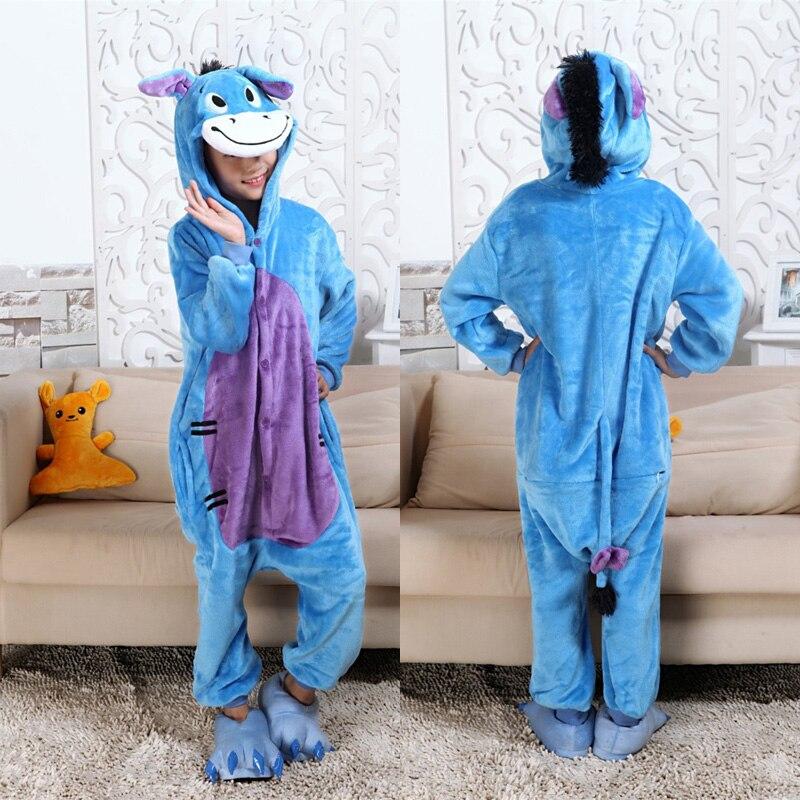 Cute Donkey Onesies Kids Pajamas Costume Cartoon Animal Cosplay Pyjama Kids Blue Sleepsuit Winter Warm Sleepwear Christmas Gift