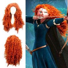 Bravo merida peruca cosplay longo encaracolado role play peruca cabelo de halloween peruca feminina traje cosplay