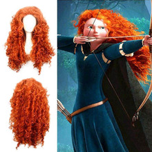 Disfraz de Mérida de Brave para mujer, peluca de pelo rizado largo, peluca de Halloween, Cosplay