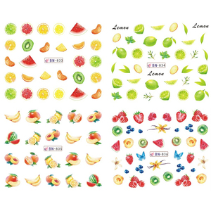 Image 3 - 12 Designs Nail Art Sticker Slider Water Decals Summer Cherry Strawberry Fruit for Transfer Manicure Tip Decoration JIBN829 840