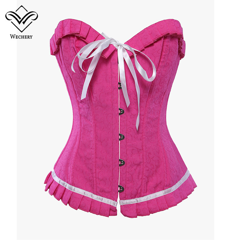 Wechery Steampunk   Corset   Sexy Pink Gothic Clothing Bow Push Up   Corsets   Lace up korset Corsage Slimming Waist Trainer   Bustiers