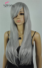 StrongBeauty Long Layered Straight Silver gray Synthetic Costume Wig Cosplay Wigs COLOUR CHOICES