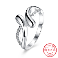925 Sterling Silver Rings Heart By Heart Silver Rings With Clear Gemstone Fine Jewelry White Twist