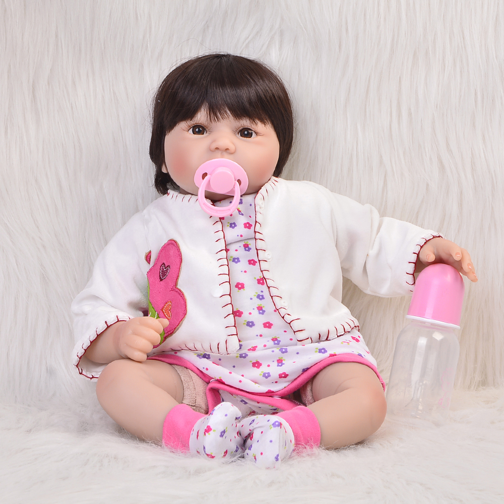 Collectible Doll Reborn Baby Girl 22 Inch Newborn Silicone Vinyl Soft Princess Alive Babies Toy Kids Birthday Gift Reborn Boneca 22 inches soft silicone reborn baby dolls cloth body real looking newborn alive girl babies boneca toy kids birthday xmas gift
