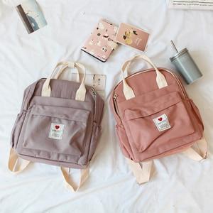 Image 2 - Mochila Ulzzang de Corea del Sur, bolso suave Ins para mujer, estudiante, Harajuku japonés, pequeña, color morado