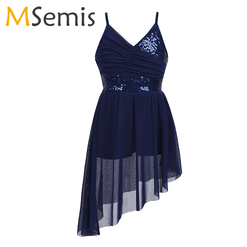 Girls Latin Dance Dress Gymnastics Leotard For Girls Straps V-Neck Sequined Irregular Hem Latin Dance Costume Lyrical Dress