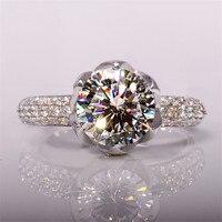 Luxury 3 Carat Petals Halo Shaped SONA Simulated Diamond Wedding Rings Women 100 Pure 925 Solid