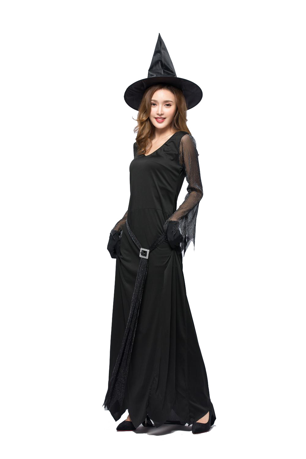 ef453fd45f5 New 2019 Black Sexy Halloween Costume For Women Plus Size long dress evil  witch Costume Halloween Adulte Femme Disfraces Mujer