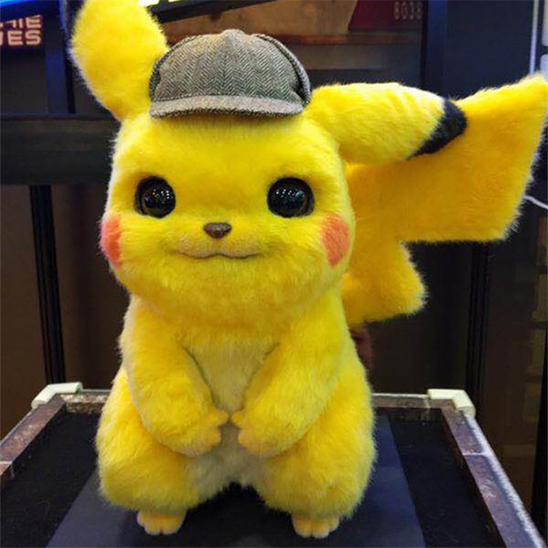 28cm Hot Movie Fluffy Detective Pika Stuffed Plush Toys Cute Pokemones Stuff Plush Doll Toys Kawaii Toys Best Gifts For Children