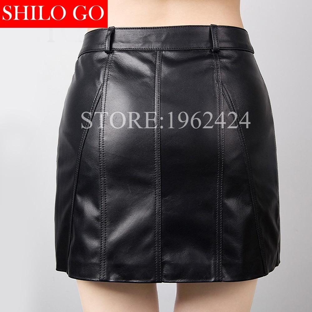 Falda Negro Primavera Cintura Lápiz 3xl Moda De Calidad Alta Nueva Piel Oveja Bolsa Negro Mujeres Profesional Sexy 66r7q