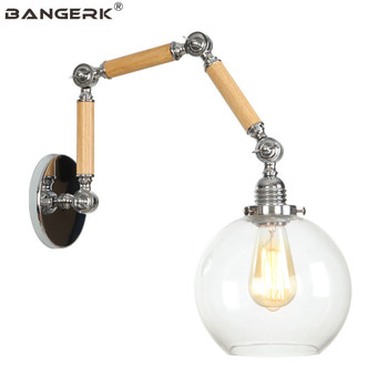 Loft Industrial Vintage Wall Lamp Flexible Iron Glass LED Edison Wall Sconces Adjust Retro Light Home Decor Lighting Fixtures
