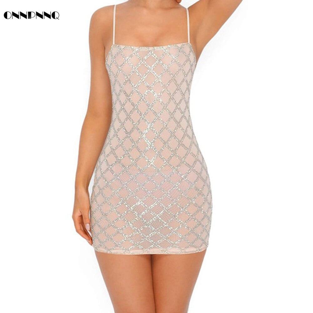 RIUOOPLIE Women Sexy Sequins Sling Leak Back Slim Mini Elasticity Dress Party Nightclub