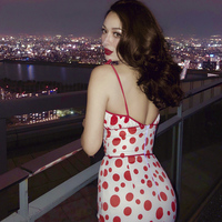 le palais vintage 2018 Summer Classic Vintage Dress Red White Dot Polka Pleated Slim High Rise Strap Dress Chest Pad