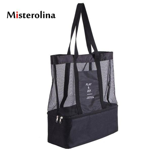 Misterolina 2018 Cooler Bags Wine Bottle Beach Ice Bag Cold Pack 210d Net Cloth Shoulder