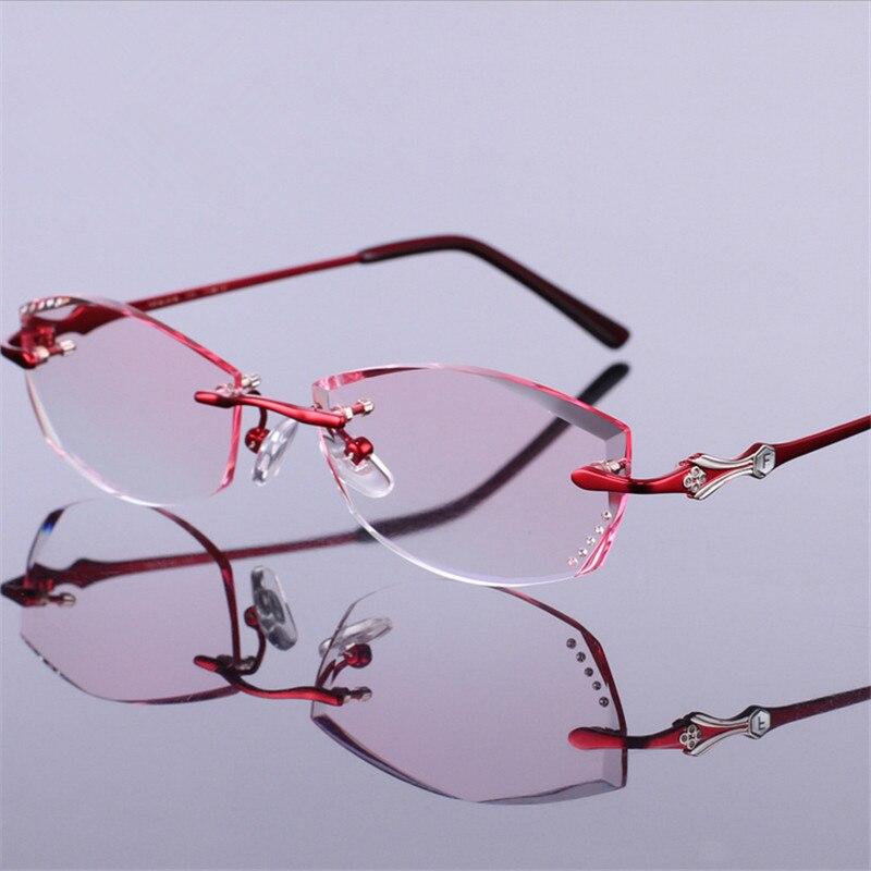 Fertigprodukte Brillengestell Prescription Mode Getrimmt Brillen Optische Schöne Frauen Rahmenlose 5qxw4